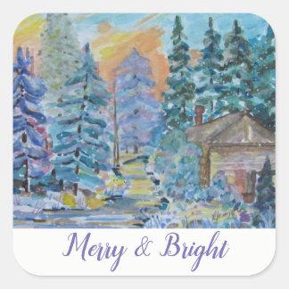 Sticker Carré Joyeux et lumineux - cabine dans la scène en bois