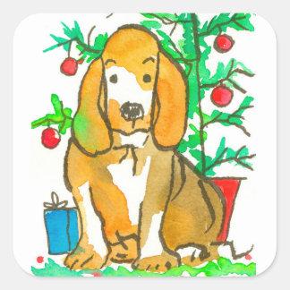 Sticker Carré Joyeux Noël de chien de chasse