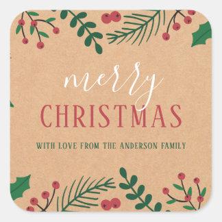 Sticker Carré Joyeux Noël de Papier d'emballage, de houx et de