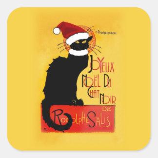 Sticker Carré Joyeux Noël Du Chat Noir