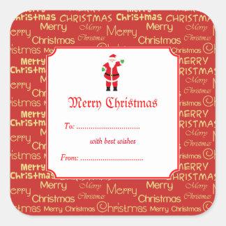 Sticker Carré Joyeux Noël et cadeau du père noël