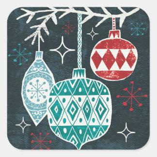 Sticker Carré Joyeux ornements de Christmastime