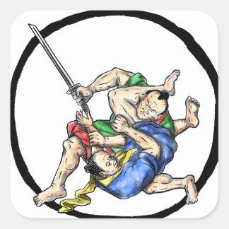 Sticker Carré Judo samouraï de Jui Jitsu combattant le tatouage