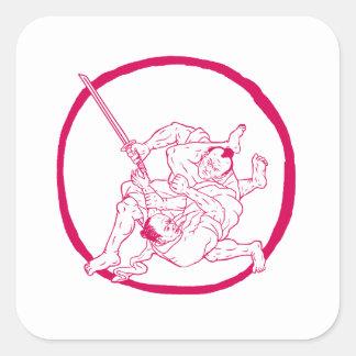 Sticker Carré Jui samouraï Jitsu combattant le dessin d'Enso