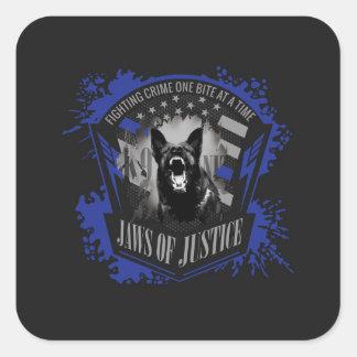 Sticker Carré K-9 unité - mâchoires de justice