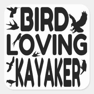 Sticker Carré Kayaker affectueux d'oiseau