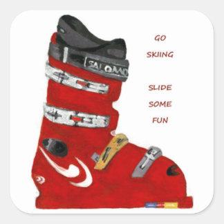 Sticker Carré la botte de ski vont glissière de ski de