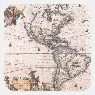 Sticker Carré La carte de Visscher du nouveau monde