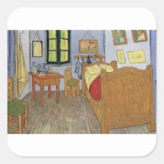 Sticker Carré La chambre de Vincent Van Gogh (The room)