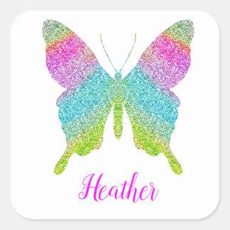 Sticker Carré La coutume ajoutent votre propre papillon nommé de