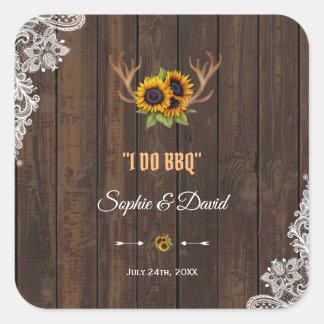 Sticker Carré La dentelle en bois WeddingI d'andouillers de