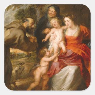 Sticker Carré La famille sainte avec des saints