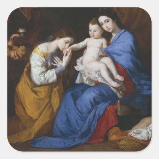 Sticker Carré La famille sainte avec des saints Anne et