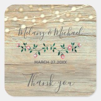 Sticker Carré La ficelle en bois rustique allume le Merci de