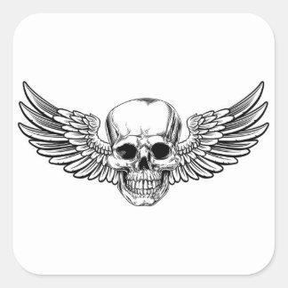 Sticker Carré La gravure sur bois vintage à ailes en crâne a