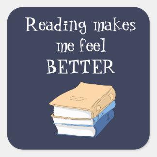 Sticker Carré La lecture m'incite à sentir un meilleur amoureux