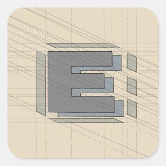Sticker Carré La lettre E