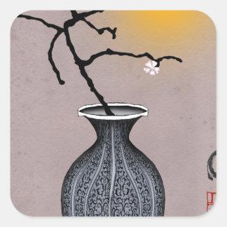 Sticker Carré la lune élégante des fernandes et la fleur de 2