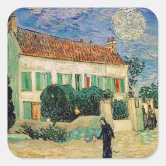 Sticker Carré La Maison Blanche de Vincent van Gogh | la nuit,