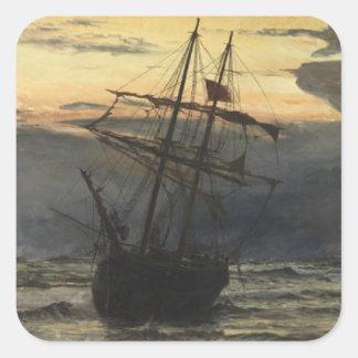 Sticker Carré La Mer-Plage après un temps de tempête, aube