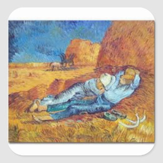 Sticker Carré La Sieste de Vincent Van Gogh (Noon)
