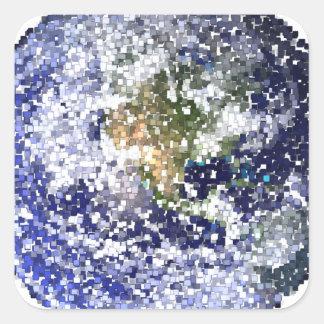 Sticker Carré la terre de cube