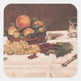 Sticker Carré La vie de Manet | toujours : Fruit sur un Tableau,