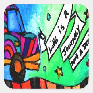 Sticker Carré La vie est un voyage pas une destination