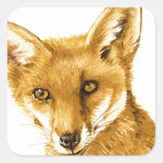 Sticker Carré La vie sauvage rouge britannique de Fox