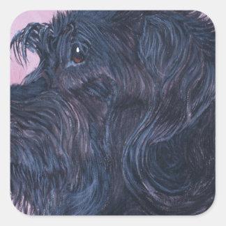 Sticker Carré Labradoodle noir