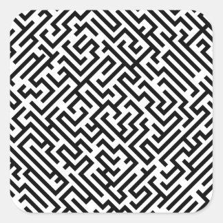 Sticker Carré Labyrinthe - motif noir et blanc