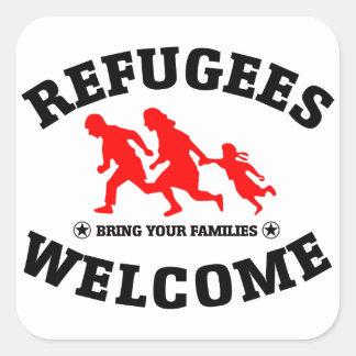 Sticker Carré L'accueil de réfugiés amènent vos familles