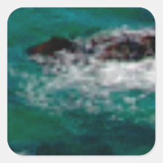 Sticker Carré lagune avec des roches