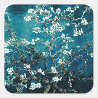 Sticker Carré L'amande de Vincent van Gogh fleurit Teal foncé