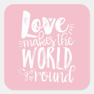 Sticker Carré L'amour fait le monde aller autour des