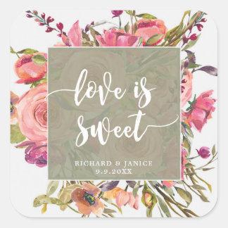 Sticker Carré l'amour floral de fleur sauvage est mariage doux