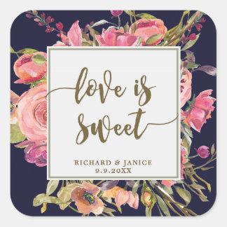 Sticker Carré l'amour floral de marine est mariage doux