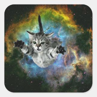 Sticker Carré Lancement de chaton d'univers de chat de galaxie