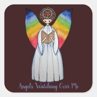 Sticker Carré L'ange d'aquarelle avec l'arc-en-ciel s'envole