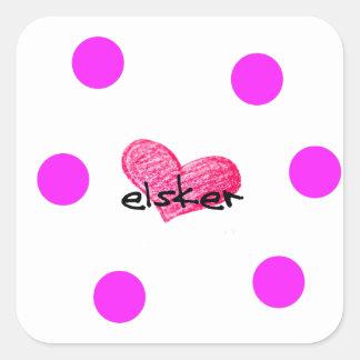 Sticker Carré Langue danoise de conception d'amour