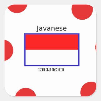 Sticker Carré Langue de Javanese et conception indonésienne de