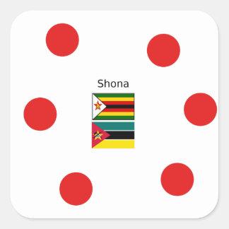 Sticker Carré Langue de Shona et drapeaux du Zimbabwe et de la