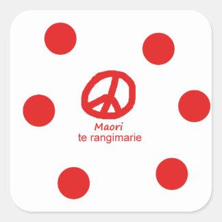 Sticker Carré Langue et conception maories de symbole de paix