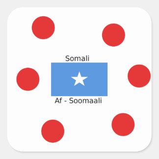 Sticker Carré Langue somalienne et conception de drapeau de la
