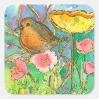 Sticker Carré L'aquarelle fleurit l'oiseau de Robin