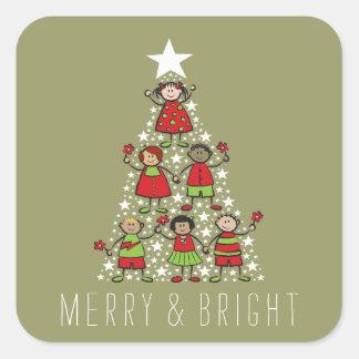 Sticker Carré L'arbre de Noël de scintillement badine
