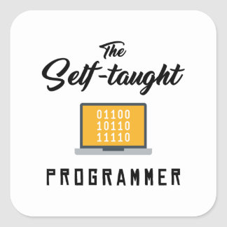 Sticker Carré L'autocollant autodidacte de programmeur