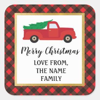 Sticker Carré L'autocollant de Joyeux Noël marque le camion