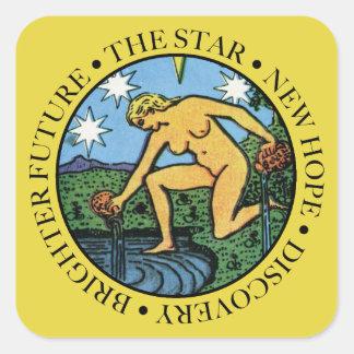 Sticker Carré L'autocollant d'étoile avec le texte