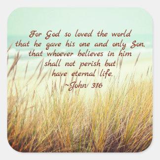 Sticker Carré Le 3h16 de John pour Dieu a ainsi aimé le monde,